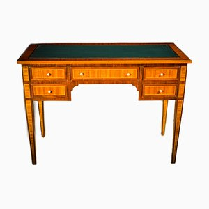 Antique Louis XVI Style Italian Inlaid Walnut Desk, 1890s
