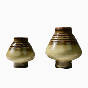 Scandinavian Modern Ceramic Bamboo Vases by Olle Alberius for Rörstrand, 1960s, Set of 2