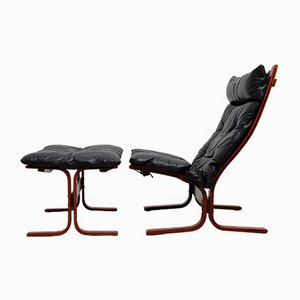 Vintage Siesta High-Back Sling Lounge Chair and Ottoman Set by Ingmar Relling for Westnofa
