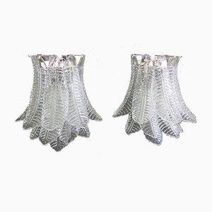 Italienische Vintage 6-stufige Wandlampen aus Glas, 1980er, 2er Set