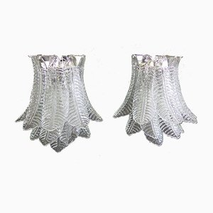 Vintage Italian Glass 6-Tier Sconces, 1980s, Set of 2