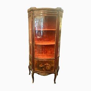 Credenza antica in stile Napoleone III in vetro anticato e faggio, Francia