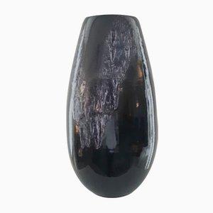 Grand Vase Oblong Noir en Céramique Émaillée de Silberdistel