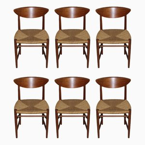 Vintage Scandinavian Teak & Paper Cord Model 316 Chairs by Peter Hvidt & Orla Mølgaard-Nielsen for Søborg, Set of 6