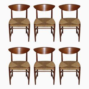 Vintage Scandinavian Teak & Paper Cord Model 316 Chairs by Peter Hvidt & Orla Mølgaard-Nielsen for Søborg, Set of 6