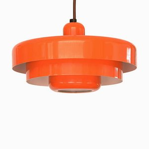 Vintage Danish Orange Lacquered Metal Ceiling Lamp, 1970s