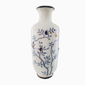 Vase Floral Vintage en Céramique Bleue et Blanche