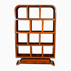 Vintage Art Deco French Walnut Bookcase, 1930s