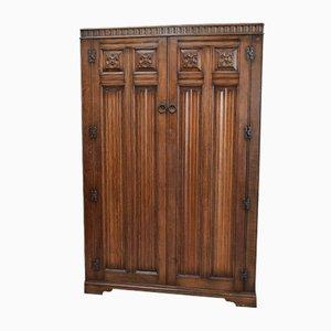 Antique Carved Oak Double Wardrobe
