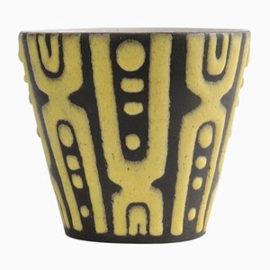 Yellow and Black Fat Lava Ceramic Flower Pot, 1960s