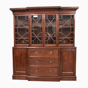 19th-Century Mahogany Breakfront Bookcase