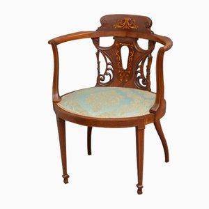 Antiker edwardianischer Beistellstuhl aus Mahagoni