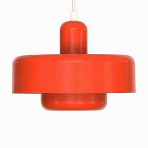 Dänische Rot lackierte Vintage Deckenlampe aus Metall, 1970er