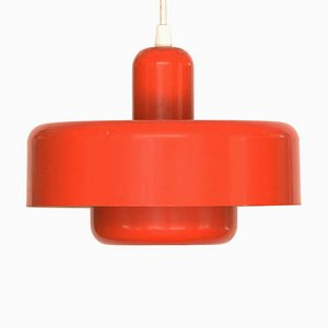 Vintage Danish Red Lacquered Metal Ceiling Lamp, 1970s