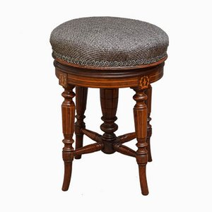 Antique Victorian Mahogany and Satinwood Piano Stool