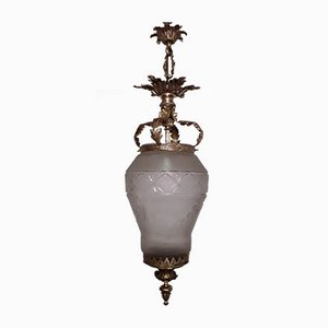 Large Antique Bronze & Cut Glass Ceiling Lamp