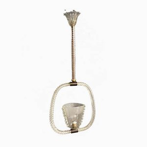 Art Deco Italian Bronze and Murano Glass Ceiling Lamp by Ercole Barovier, 1930s
