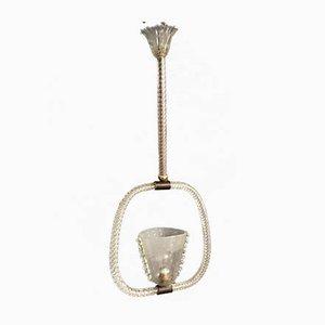 Italienische Art Déco Deckenlampe aus Bronze & Muranoglas von Ercole Barovier, 1930er