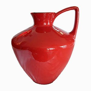Large Vintage Red Ceramic Model 401-40 Vase from Scheurich, 1970s