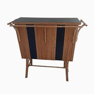 Vintage Bar aus Bambus und schwarzem Leder