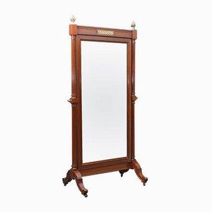 Large Vintage Mahogany Cheval Mirror, 1930s