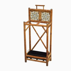 Antique Victorian Brass and Bamboo Rack