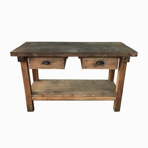 Small Vintage French Oak and Fir Worktable, 1930s