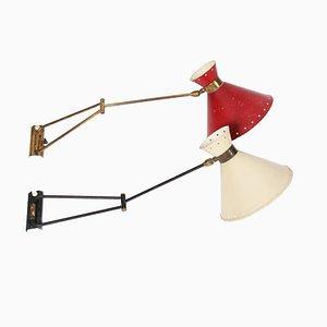 Französische Wandlampen aus Metall in Rot & Creme von Rene Mathieu für Lunel, 1950er, 2er Set