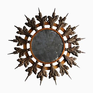 Vintage French Gilt Metal Sunburst Mirror, 1950s