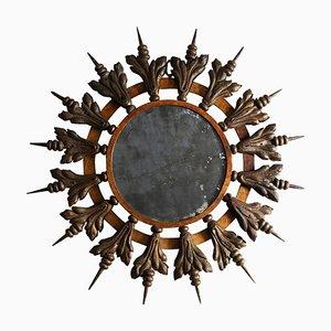 Vintage French Gilt Metal Sunburst Mirror, 1950s