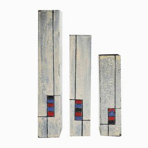 Italian Enameled Metal Vases by Ettore Sottsass for De Poli, 1950s, Set of 3