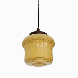 Vintage French Yellow & Golden Glass Pendant Lamp from Clichy
