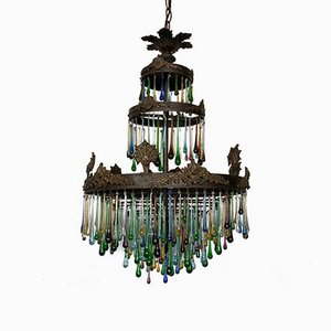 Large Vintage Multi-Colored Glass Teardrop Waterfall Chandelier