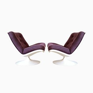 Space Age Fabric & Plastic Model 975 Lounge Chairs by Geoffrey Harcourt for Artifort, 1970s, Set of 2