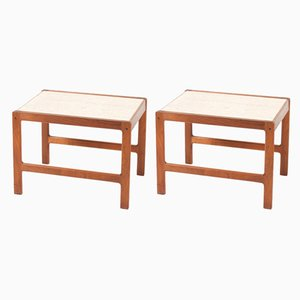 Danish Teak and Travertine Side Tables, 1950s, Set of 2