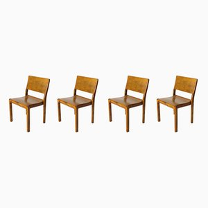 Scandinavian Modern Beech and Plywood Model 611 Dining Chairs by Alvar Aalto, 1930s, Set of 4