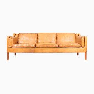 Dänisches Sofa aus Leder und Teak von Børge Mogensen für Fredericia, 1980er