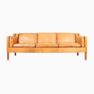 Danish Leather and Teak Sofa by Børge Mogensen for Fredericia, 1980s
