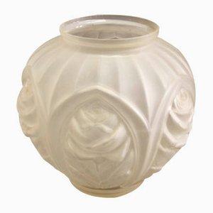 Französische Geometrische Vintage Art Deco Vase aus Geätztem Glas, 1930er