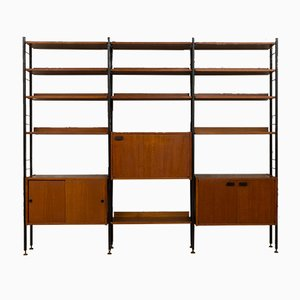 Italian Modern Brass and Teak Selex Wall Unit from Industria Mobili Barovero, 1970s