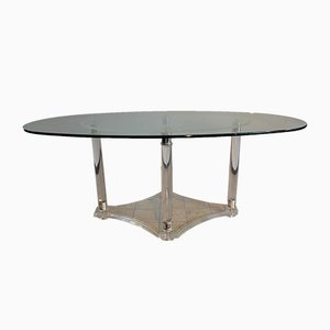 Italian Acrylic Beveled Glass Dining Table, 1970s