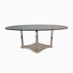 Mesa de comedor italiana acrílica de vidrio biselado, años 70