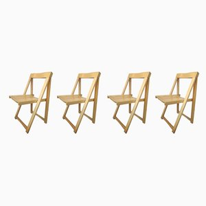 Italian Wooden Folding Chairs by Aldo Jacober for Alberto Bazzani, 1960s, Set of 4