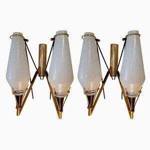 Vintage Wandlampen aus Messing und Glas, 2er Set