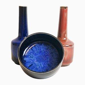 Schwedische Keramikschale & 2 Vasen von Carl Harry Stålhane für Rörstrand, 1950er