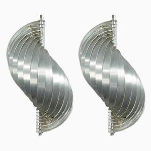 French Aluminum Sconces by Henri Mathieu, 1970s, Set of 2