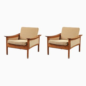 Scandinavian Modern Fabric and Teak Armchairs, 1950s, Set of 2