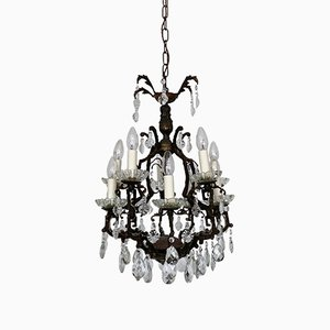 Italian Cast Iron Angular Birdcage Chandelier, 1900s