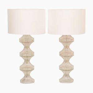Große italienische Tischlampen aus Chrom & Glas, 1960er, 2er Set
