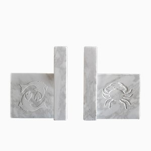 White Marble Zodiac Sign Bookends, 2019, Set of 2